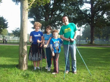 Photo of a family on a Nordic Walking for Health course - Brighton & Hove 2012 TAKEPART Festival