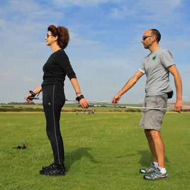 Image of Peter teaching the Nordic walking posture