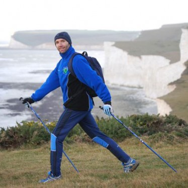 Nordic Walking for Health on the Seven Sisters, East Sussex, England