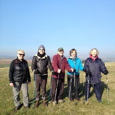 Image of a walking group on the South Downs