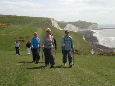 Nordic walking in the Seven Sisters Country Park, East Sussex